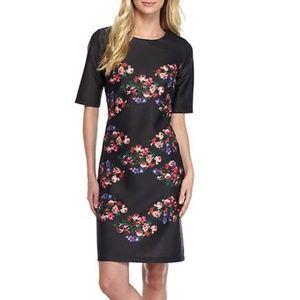 Taylor Scuba Floral Print Sheath Dress